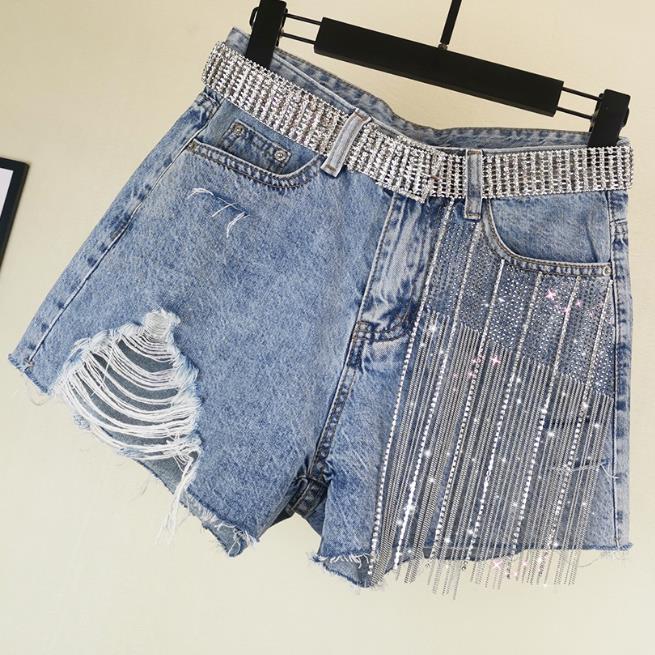 2020 Summer New Fashion Jeans Shorts Wide-leg Heavy Work Women Hot Drilling Tassel Hole High Waist Denim Shorts
