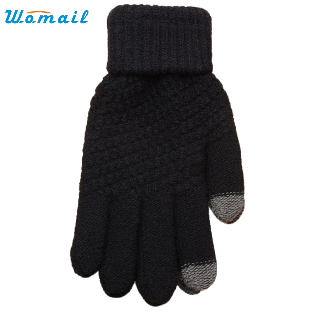 2019 #  Hot!New Fashion Gloves Knit Wool Man Women Winter Keep Warm Soft Mittens High Quality