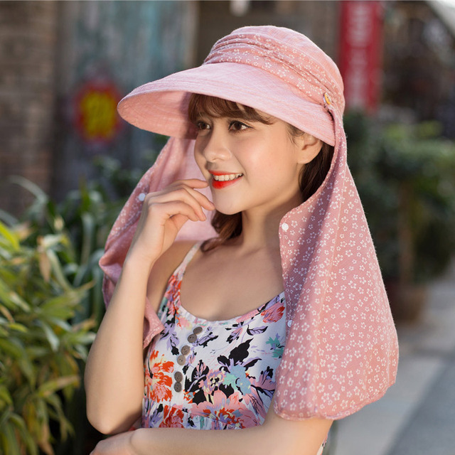 Women Sun Shading Outdoor Trip Mountain Sunscreen Sun Cap Face Protection  and Anti-ultraviolet Cotton and Linen Summer Hat b39d7199efa