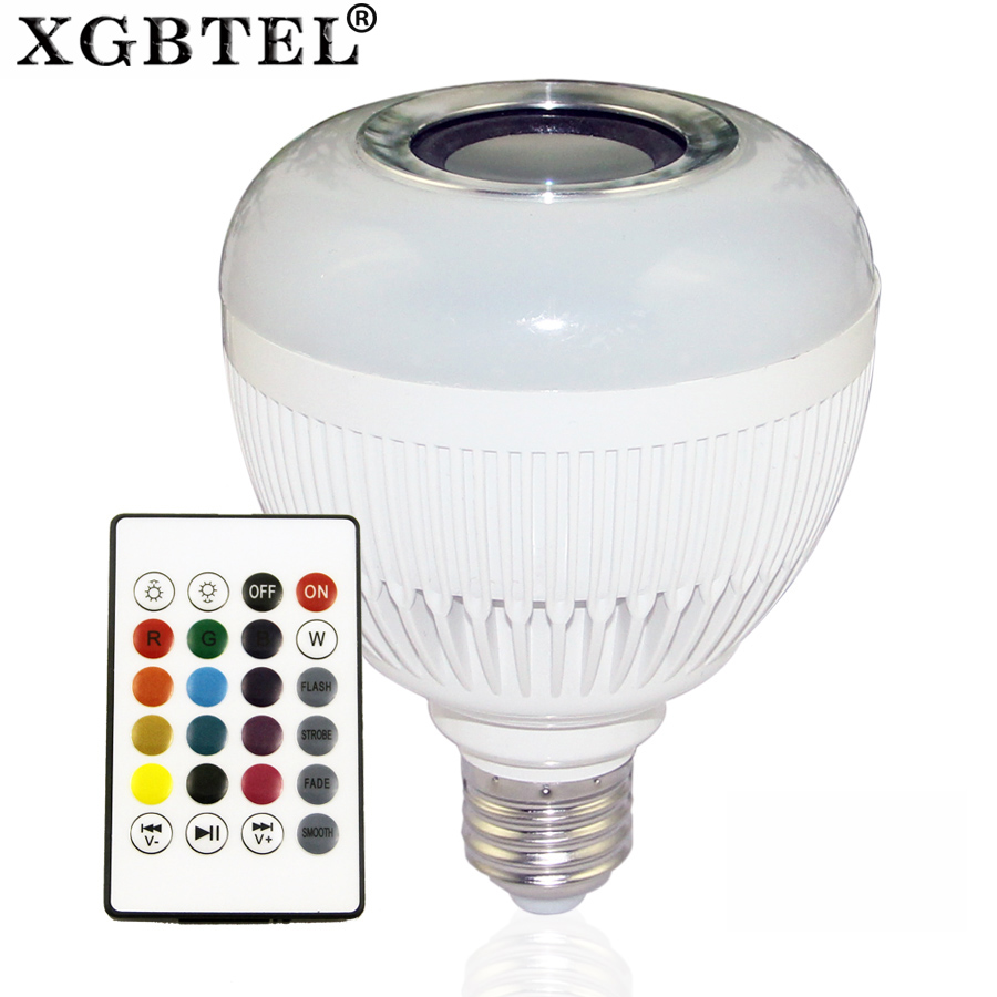 LED speaker bulb Audio Speaker 12W wireless Bluetooth E27 Colorful music playing & Lighting With 24 Keys IR remote Control hot wireless bluetooth 12w led speaker bulb audio speaker e27 colorful music playing