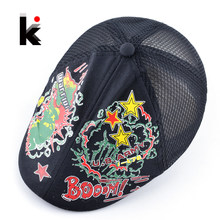 Spring And Summer Kids Berets Breathable Mesh Patchwork Hats For Boy And Girl U.S.Army And U.S.AF Colorful Printed Cap For Child(China)