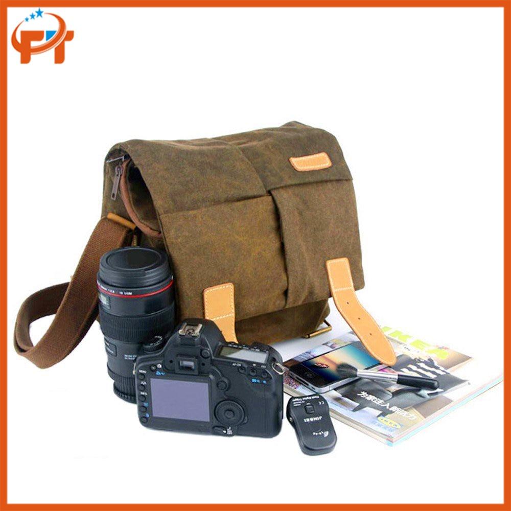 Caden N2 Water-resistant Canvas Camera Bag for Nikon <font><b>Canon</b></font> Sony <font><b>Gray</b></font> DSLR Digital Camera with Shockproof Insert