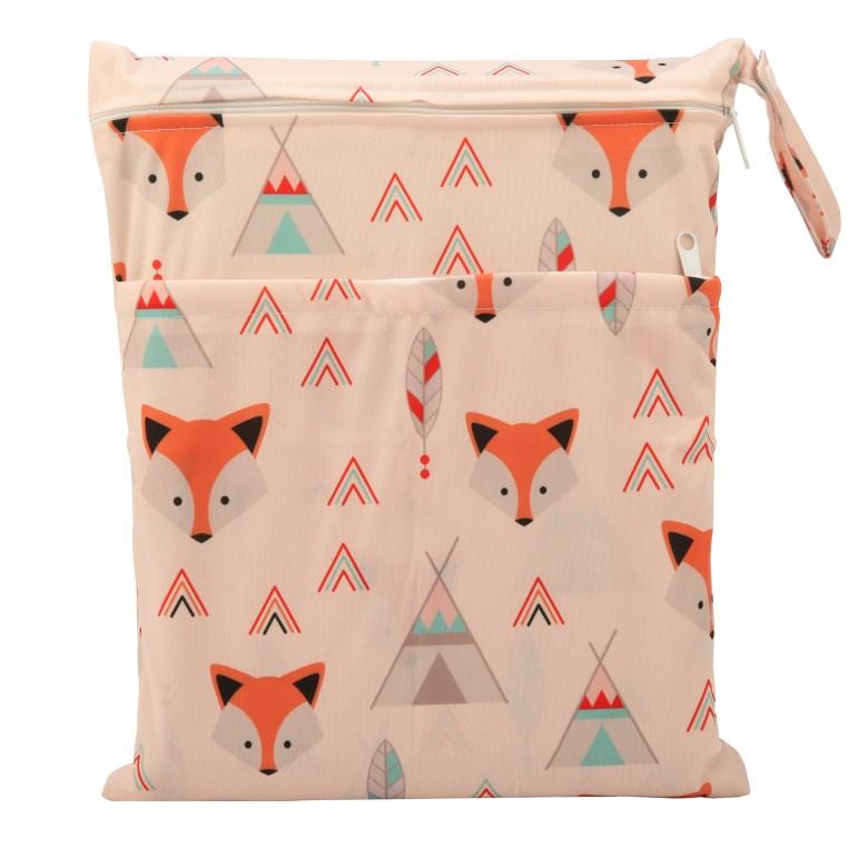[Sigzagor] 1 Влажная сухая сумка с двумя молниями для детских подгузников, водонепроницаемая сумка для подгузников, розничная и, 36 см x 29 см, на выбор 1000 - Цвет: WH27 Native fox