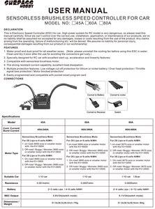Image 5 - SURPASSHOBBY KK Wasserdichte 60A ESC Elektro Speed Controller für RC 1/10 1/12 RC Auto 3660 Bürstenlosen Motor