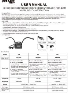 Image 5 - SURPASSHOBBY KK Waterproof 60A ESC Electric Speed Controller for RC 1/10 1/12 RC Car 3660 Brushless Motor