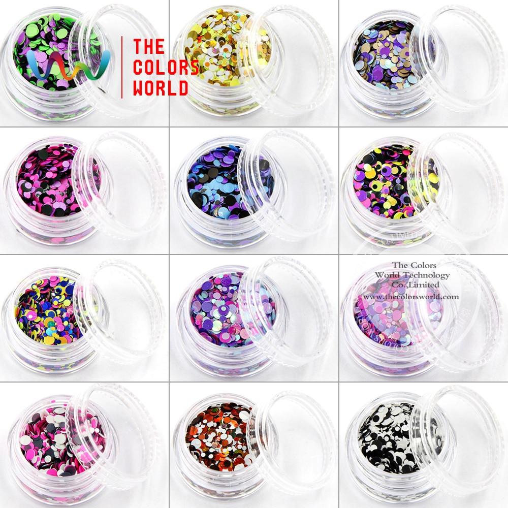 TCT 005 Mix Farben Dot formen runde Nagel Glitter für Nagel kunst ...