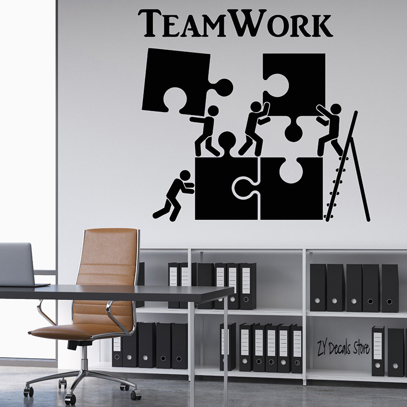 Teamwork Motivation Office Worker Wall Decals Home Interior Decor Teamwork Wall Decals 20 Colors Available Art Wallpaper L545