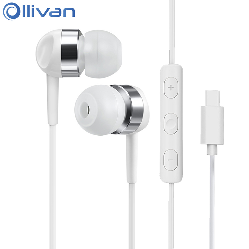 Ollivan Type C Earphone HIFI Headsets In Ear Type-c Earbuds Bass Earphones With Microphone For Xiaomi Hammer Nuts PRO LeEco Le 2 original 1more triple driver in ear earphone with microphone for xiaomi mi redmi samsung mp3 earphones earbuds earpiece e1001