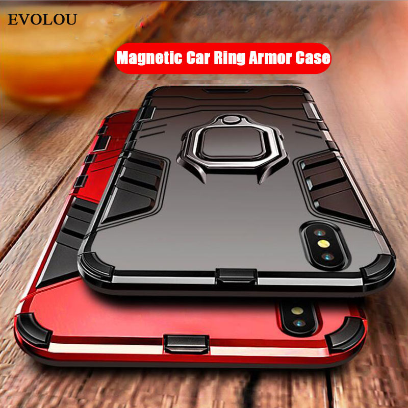 2 in 1 Hybrid Armor Phone Case for <font><b>Samsung</b></font> A50 <font><b>A30</b></font> A7 A8 A9 2018 Magnetic Ring Holder Stand Cover For <font><b>Samsung</b></font> S10 Plus S9 S8 J6 image