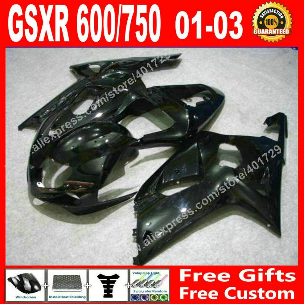 Hot sale Fairings for glossy black bodywork SUZUKI 2001 2002 2003 GSXR 600 750 motocycle parts 01 02 03 fairing kits 7 gift JF97