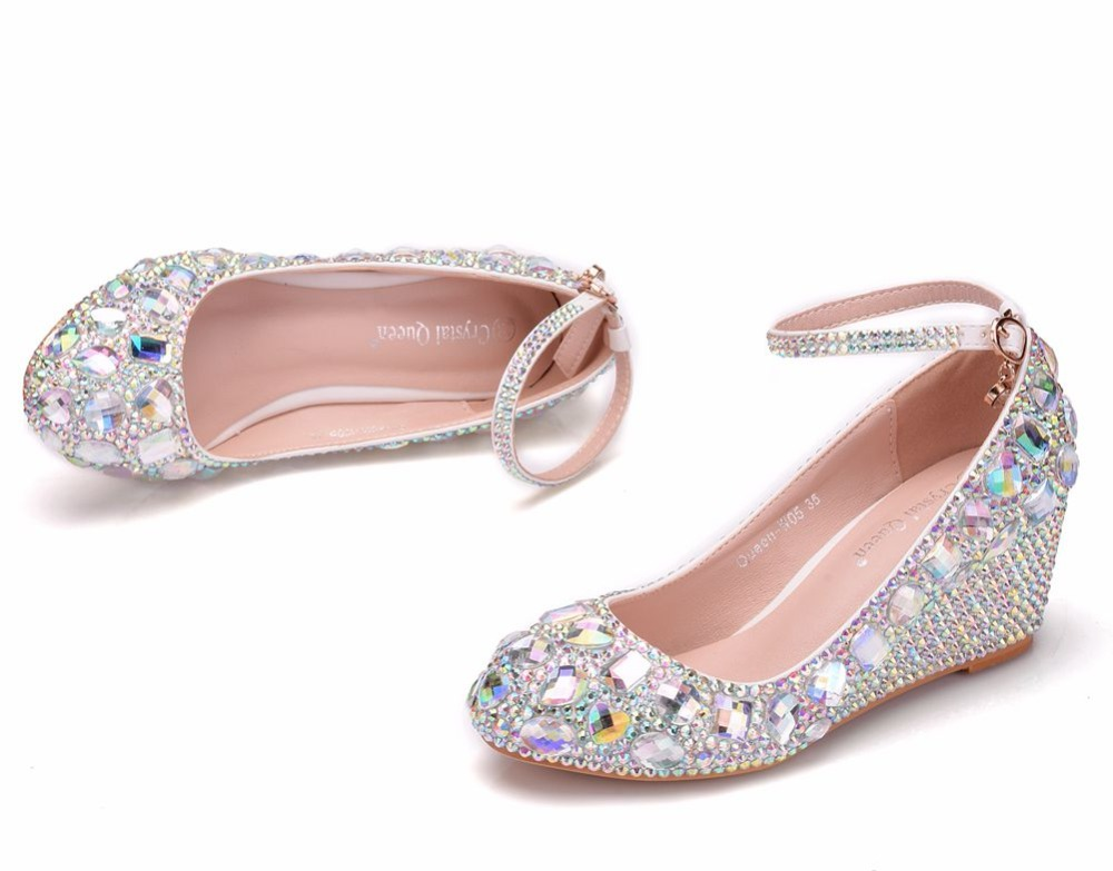 b0ba9e021552 Aliexpress.com   Buy Crystal Queen 5CM Platform Wedges Pumps Shoes Round  Toe Wedges Heels Rhinestone Wedges Plus Size 41 from Reliable Women s Pumps  ...