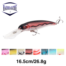 Купить с кэшбэком HAODIAOZHE Big Fishing Lure Minnow Hard Bait Long Lips Crankbait Wobblers with 2 Bass Fishing Hooks Fishing Tackle Pesca YU255