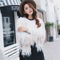 Rainbow Sequins fringed sweater knitted jacket Tassels Cardigan Handmade Mixed Color Fringed velvet fluffy Loose Coat Outwear