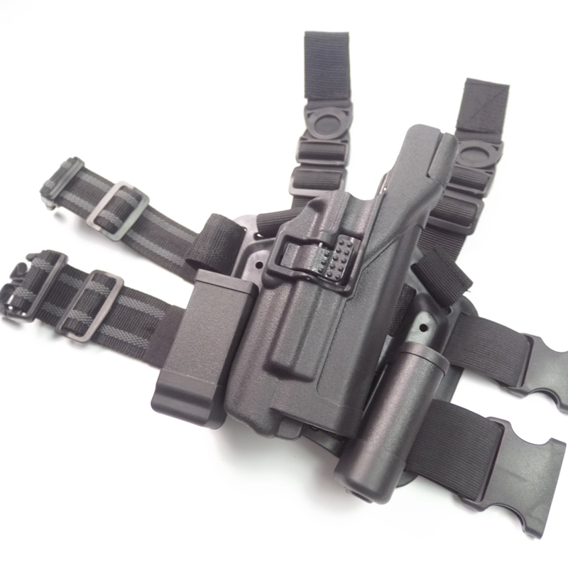 FS Military Tactical LV3 Holster with LIGHT BEARING HOLSTER SET Glock 17 19 22 23 31 32 RH Drop Leg holsters