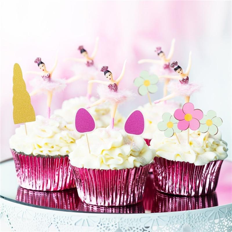 Meidding 10pcs Set Birthday Decoration Unicorn Cake Topper For