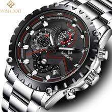 WISHDOIT Watch Men Fashion Sport Quartz Clock Mens Watches Top Brand Luxury Full Steel Business Relogio Masculino Gift