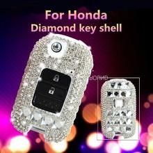 цены 2 or 3 Buttons Shinning Diamond Car Key Case Cover For Honda FIT Accord Vezel Civic City Jazz HRV HR-V Crider CRV XR-V