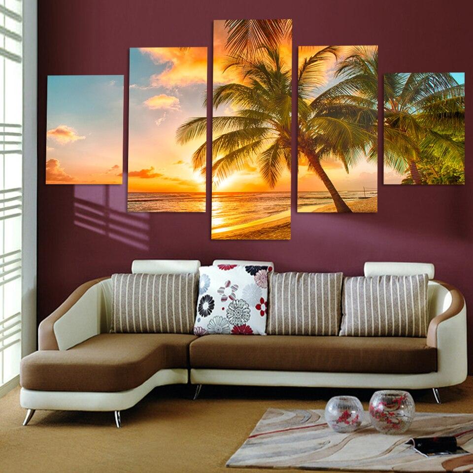 Clearance Sale 5 Panel Canvas Painting Sea Seascape