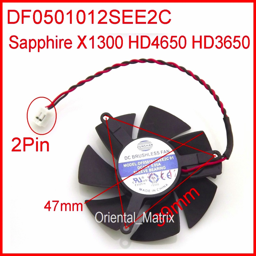 Free Shipping ZUNSHAN DF0501012SEE2C 12V 0.05A 47mm Cooler Fan For Sapphire X1300 HD4650 HD3650 Graphics Card Cooler Fan 4Pin