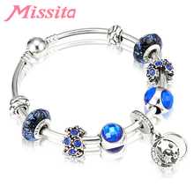 MISSITA Fashion Star Pendant Bangle with Blue Glass beads for Women Bracelet Brand Luxury Jewelry Anniversary Girlfriend Gift