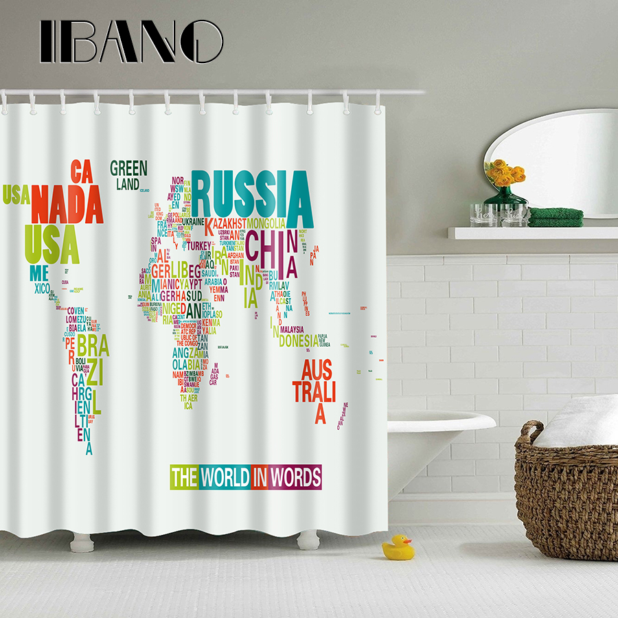 Word Map Pattern High Grade Fabric Waterproof Bath Shower Curtain With Hooks NEW