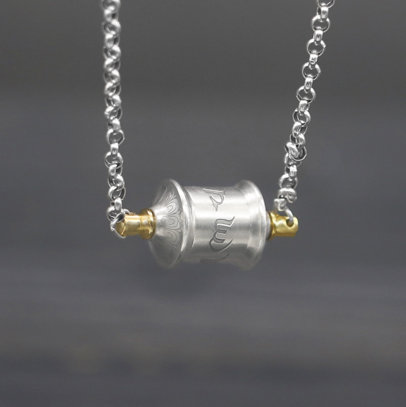S925 Sterling Silver Six-character Mantra Prayer Wheel Pendant Clavicle Tide Boys And Girls Transfer Tube Stern Curse NecklaceS925 Sterling Silver Six-character Mantra Prayer Wheel Pendant Clavicle Tide Boys And Girls Transfer Tube Stern Curse Necklace