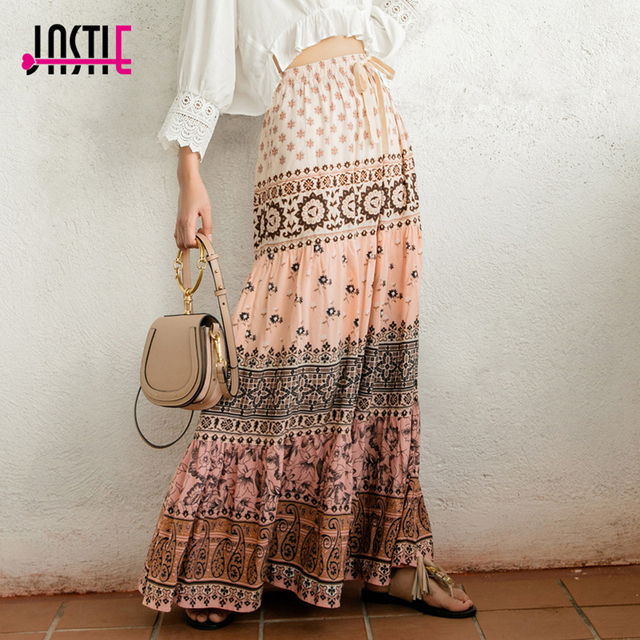 9db5d97ed7 Jastie Lionheart Maxi Skirt Bohemian Style Gypsy Casual Beach Skirts 2018  Summer Boho Hippie Women Skirt Long Female Faldas Jupe