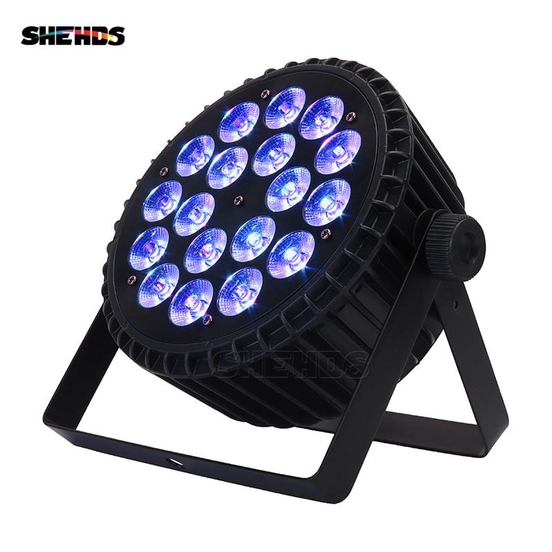 SHEHDS Aluminum Alloy LED Flat Par 18x18W RGBWA Light UV Wireless DMX 512 Stage Lighting For