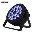 SHEHDS aleación de aluminio LED plano Par 18x18W RGBWA luz UV inalámbrico DMX 512 iluminación de escenario para DJ Disco fiesta proyector club nocturno
