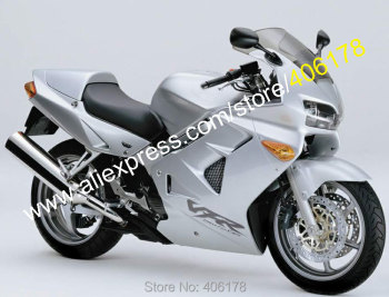 For VFR800 1998 1999 2000 2001 VFR 800 98 99 00 01 VFR 800RR All Silver Bodyworks ABS Motorcycle Fairing Kit