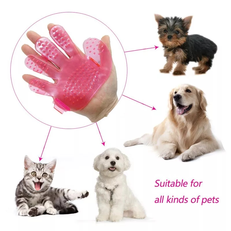 SUPREPET Pet Grooming Gloves for Cat and Dogs with Soft Tips Made of Soft Rubber to Message and Remove Excess Hair of Pets
