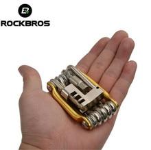 цена на ROCKBROS Mini Repair Pocket Folding Tool 11 in 1 Bicycle Mountain Road Bike Tool Set Cycling Multi Repair Tools Kit