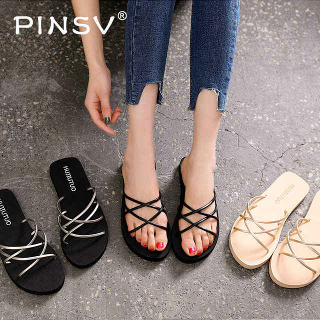 0f06cad71 Women's Slippers 2019 Summer Beach Slippers Casual Shoes Ladies Flat Heel  Strap Slippers Roman Shoes Female Slides Outdoor PINS