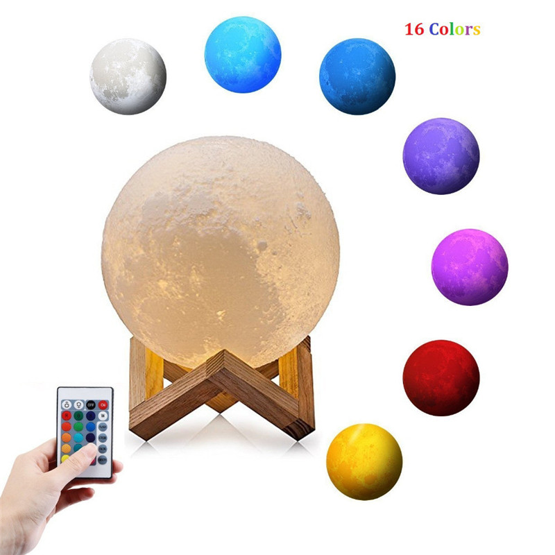 ZjRight IR Remote 16Color 3D Print Decorative Moon Lamp Rechargeable Night Light Touch Switch light birthday Gift Bedroom Night magnetic floating levitation 3d print moon lamp led night light 2 color auto change moon light home decor creative birthday gift