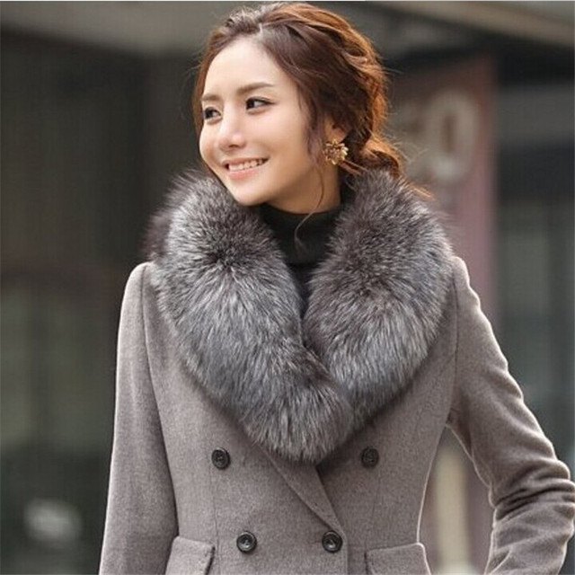 Really wonderful Nature Silver Fox Fur Collar Scarf for coat ...