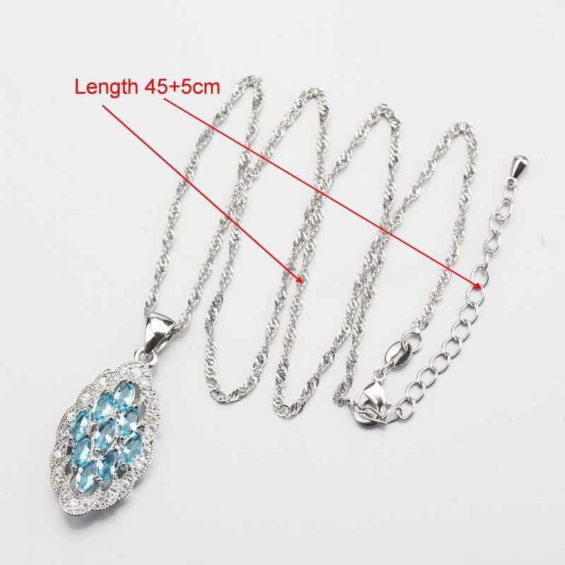 חינני אור כחול זירקון קריסטל טבעת גודל 6 #7 #8 #9 #10 # משלוח אריזת מתנה כסף צבע תכשיטי סט לנשים W177
