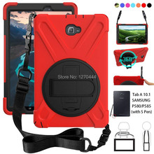 For Samsung Galaxy Tab A 6 A6 10.1 P580 P585 S-Pen vers Rugged PC+Silicone hard Cover w/360 Swivel Stand,Hand Strap & Neck Strap