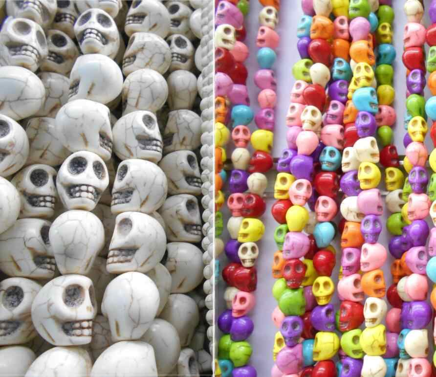 35 piece/lot 10*9*8mm / Mix Color Skull Stone Beads Jewelry Making Accessories Free Shipping