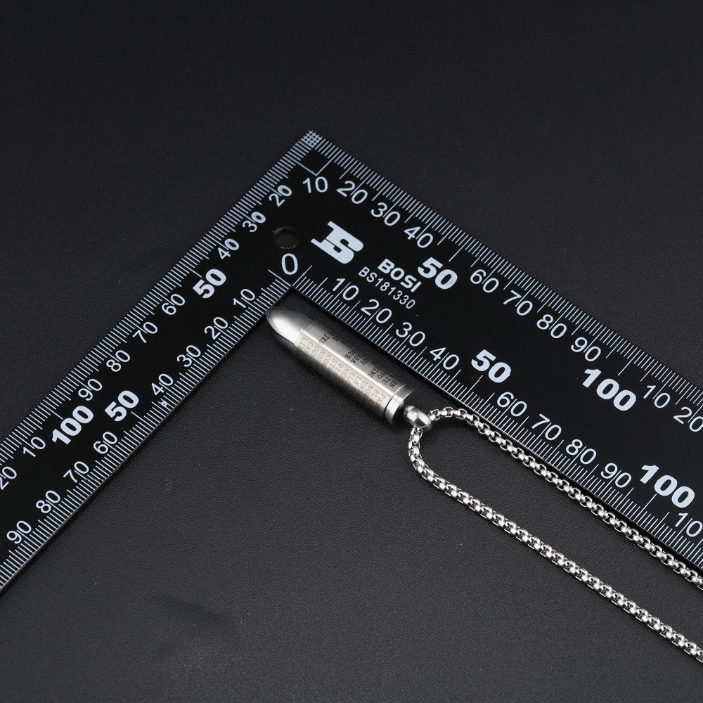 Punk Bullet Men's Pendant Necklaces Red Cross & Bible In Spanish Box Link Chain God Bless You Birthday Gift 1
