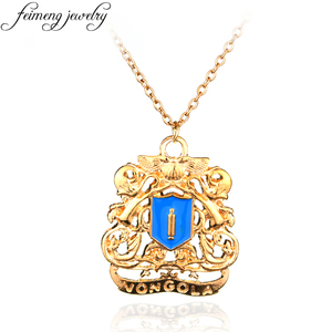 feimeng jewelry Hot Anime Katekyo Hitman Reborn Necklace Golden Vongola Famiglia Logo Pendant Necklace For Men Charm Accessories(China)