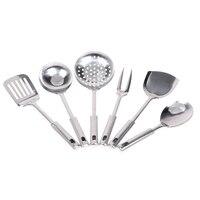6pcs Stainless Steel Serving Set Kitchen Cooking Tools Kitchenware Dish Fried Shovel Porridge Spoon Colander Ladle