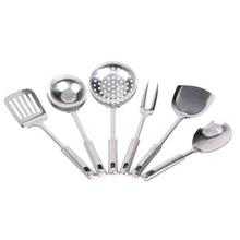 6 stücke Edelstahl Vorleger Küche Kochen Werkzeuge Küchenschüssel Gebraten schaufel Brei löffel Sieb Schöpfen Fleischgabel