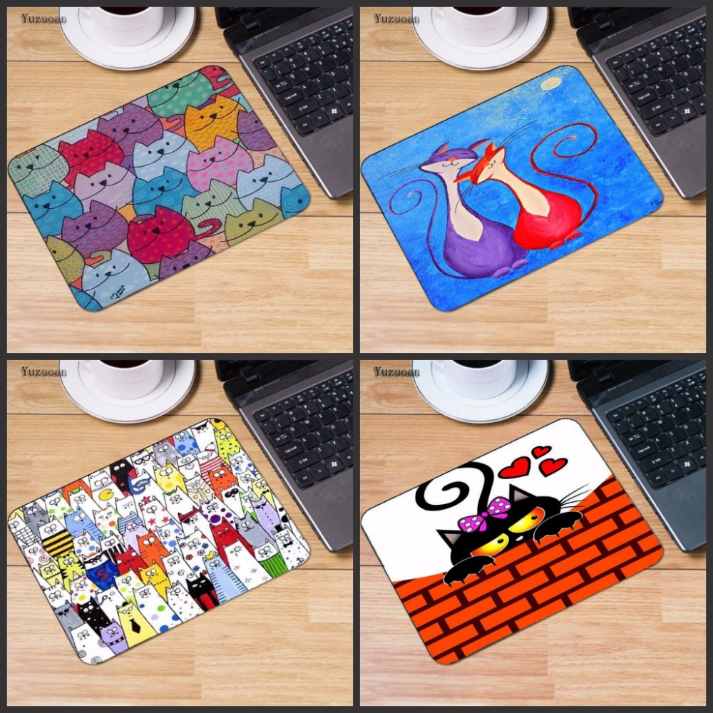 Yuzuoan Arrival Cute Cat No Lock dge Rubber Mice Mat PC Computer Laptop Gaming Mouse Pad Play Mousepad Three Sizes for Chooce