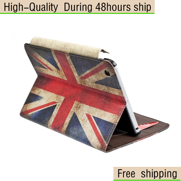 New British flag Style Leather Wallet Credit Card Case Stand Cover For Apple ipad Mini Free Shipping UPS DHL EMS HKPAM CPAM