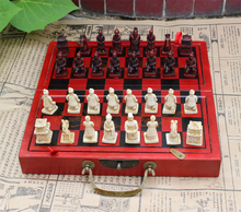 Special offer–2016 Christmas Unique gift BEST present retro antique vintage Terra-Cotta Warriors chess Checkers