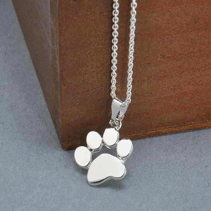 CJZBLXDZ00121 สัตว์น่ารักสุนัข paw จี้สร้อยคอ clavicle chain