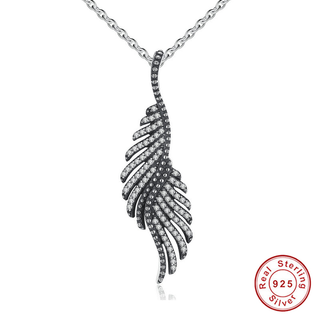 New Arrival 925 Sterling Silver Majestic Feathers, Clear CZ Female Necklaces & Pendants Fine Jewelry Collares