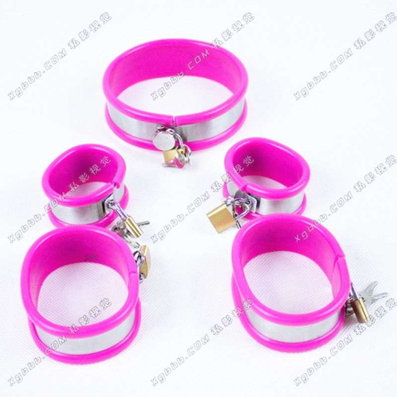 ФОТО 3 Pcs/set Handcuffs for Sex Legcuffs and Bondage Collars Sex Tools for Sale BDSM Bondage Harness Set Sex Toy Adult for Women G17