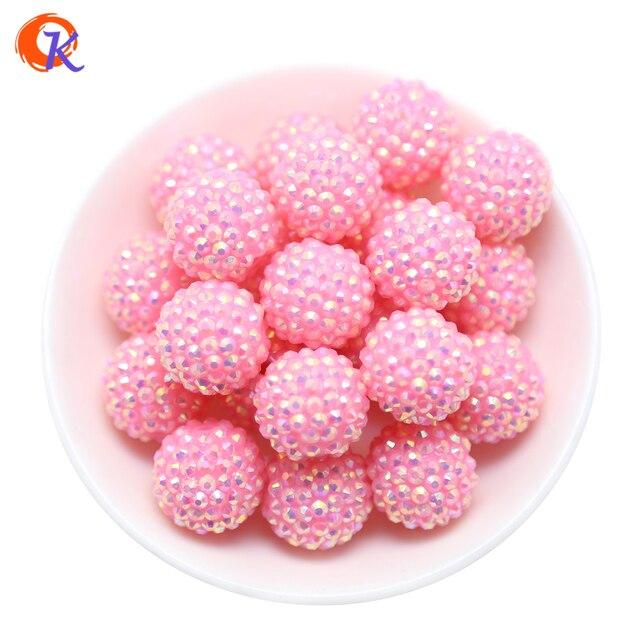 Perles en résine épaisse rose pour la fabrication de colliers, 20MM, 100 pièces/lot de R31 Cordial Design, perles épaisses en résine rose, CDWB 516020