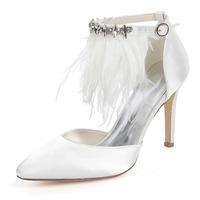 Creativesugar pointed toe D'orsay lady sation evening dress shoes with feather ankle strap sexy party wedding bridal heel pumps